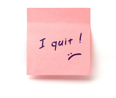 "pink adhesive note on white background with ""i quit"" note"